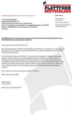 141224 Grußadresse 23. Jahrestag der Ernennung von KIM JONG IL zum Oberbefehlshaber der KVA End