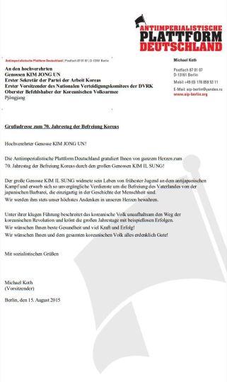2015-08-15 - KIM JONG UN - Glückwunsch 70. Jahrestag Befreiung 15.08