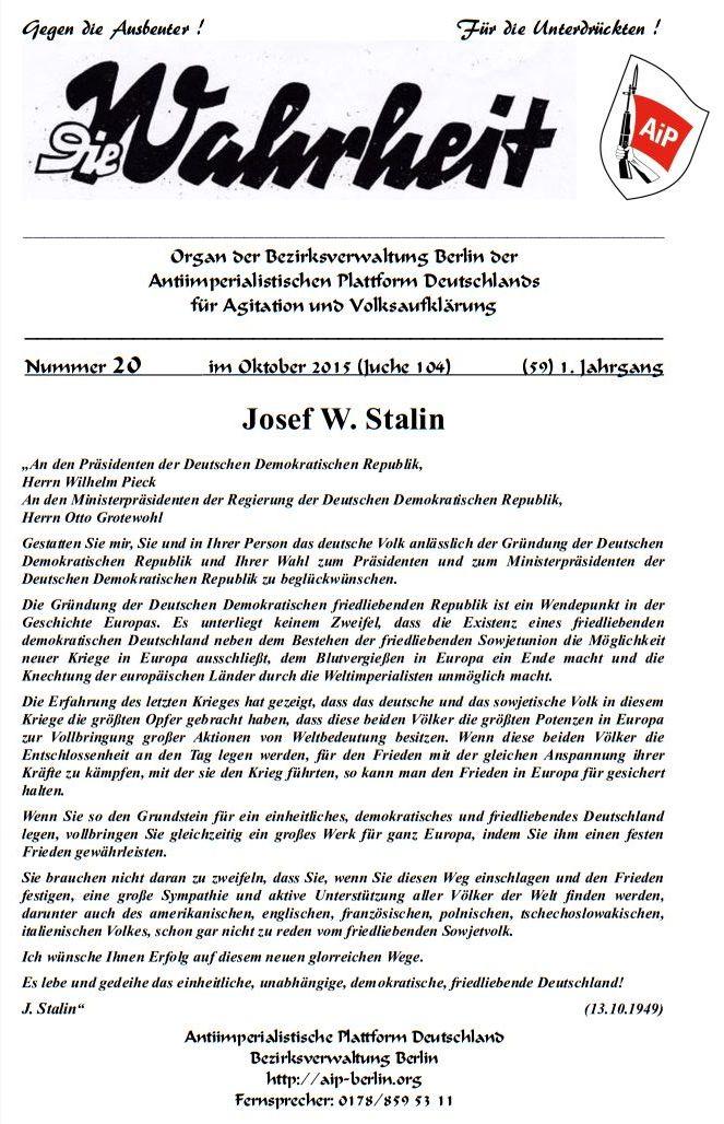 DW - 020 - Stalin 3 - DDR Gründung 1949