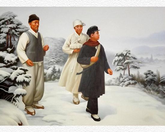 160121 - SK - Der 400 km lange Weg zur Wiedergeburt des Vaterlandes - 02 - KIM IL SUNG Gemälde