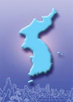 Korea - Karte - Umrisse - blau